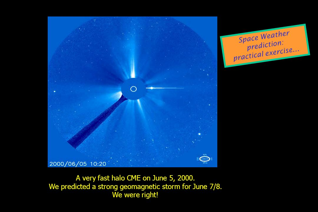 Space Weather prediction: practical exercise...