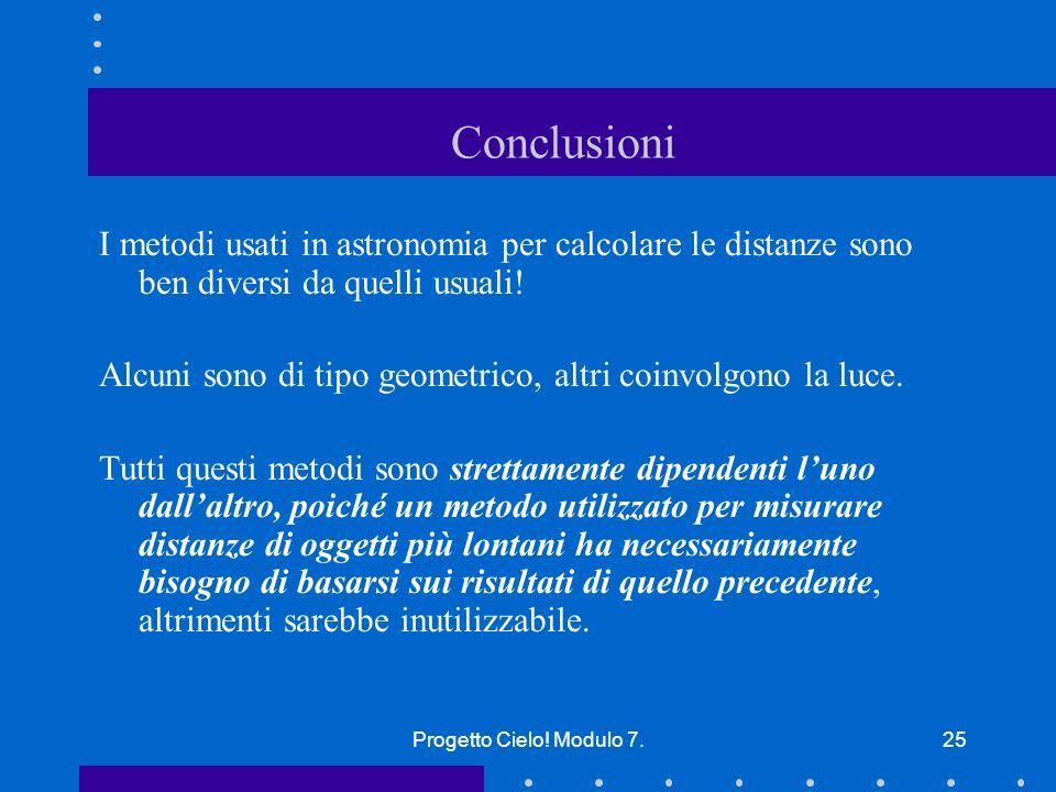 Conclusioni I metodi usati in astronomia per calcolare le distanze sono ben diversi da quelli usuali!