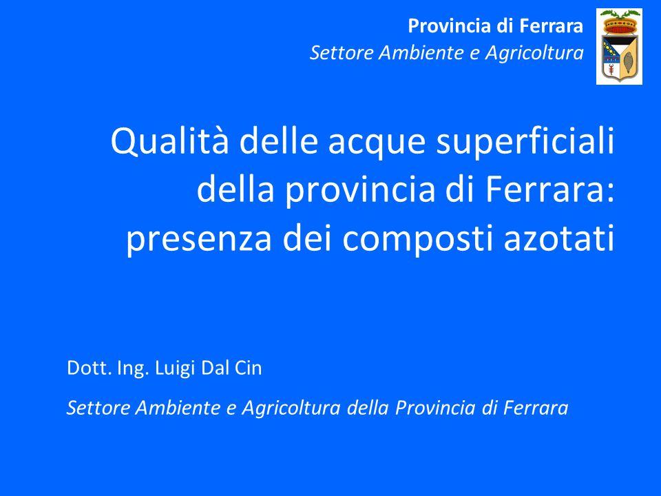 Provincia di Ferrara Settore Ambiente e Agricoltura. Qualità delle acque superficiali della provincia di Ferrara: presenza dei composti azotati.