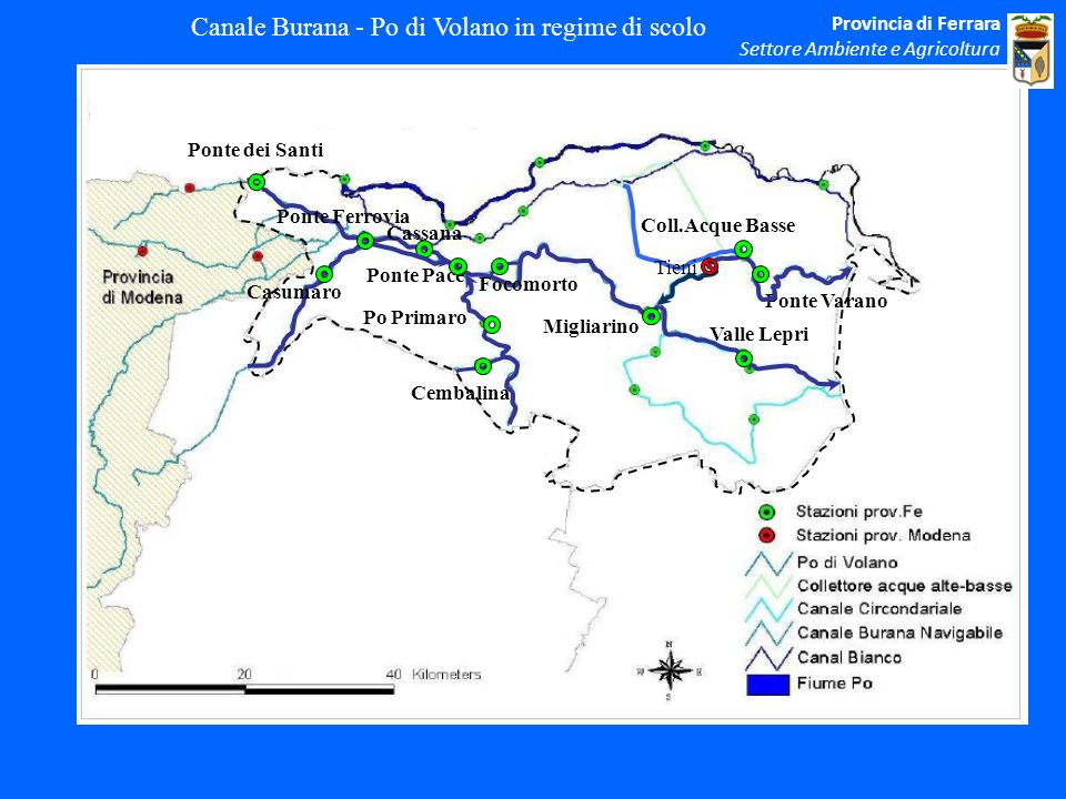 Canale Burana - Po di Volano in regime di scolo