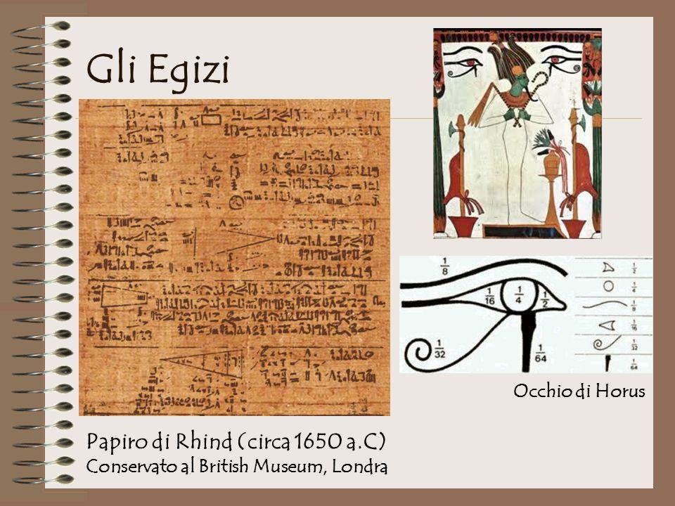 Gli Egizi Papiro di Rhind (circa 1650 a.C) Occhio di Horus