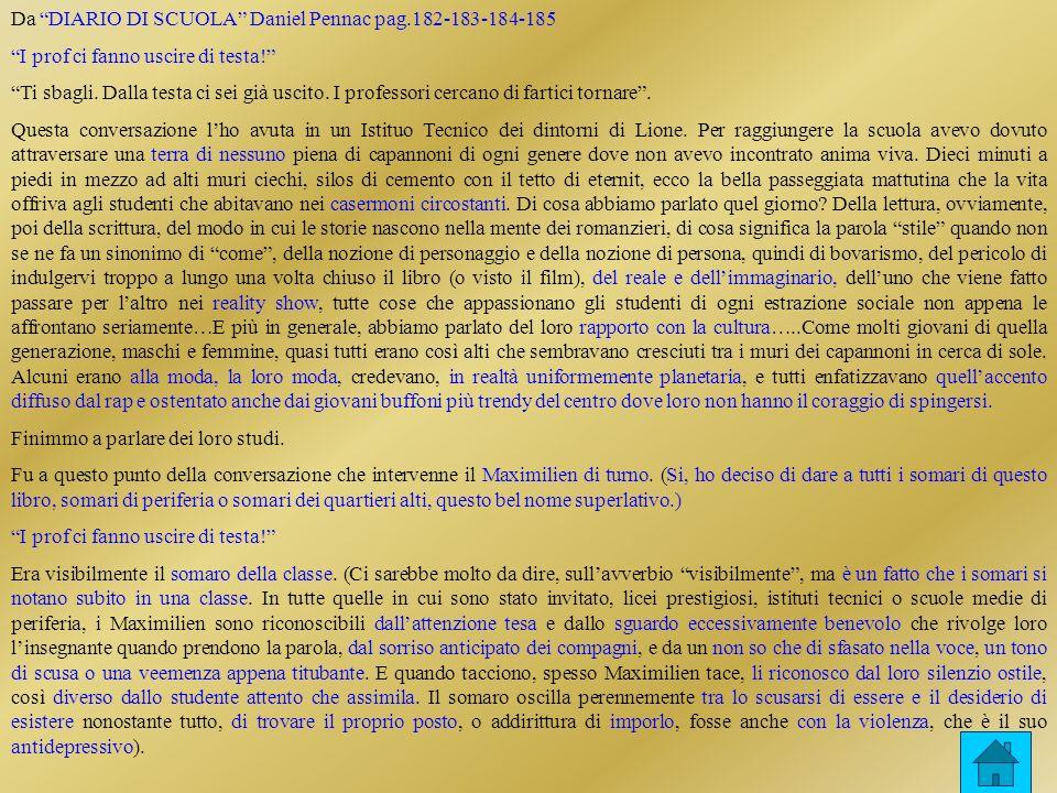 Da DIARIO DI SCUOLA Daniel Pennac pag.182-183-184-185