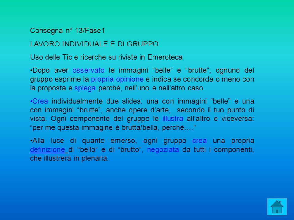 Consegna n° 13/Fase1 LAVORO INDIVIDUALE E DI GRUPPO. Uso delle Tic e ricerche su riviste in Emeroteca.