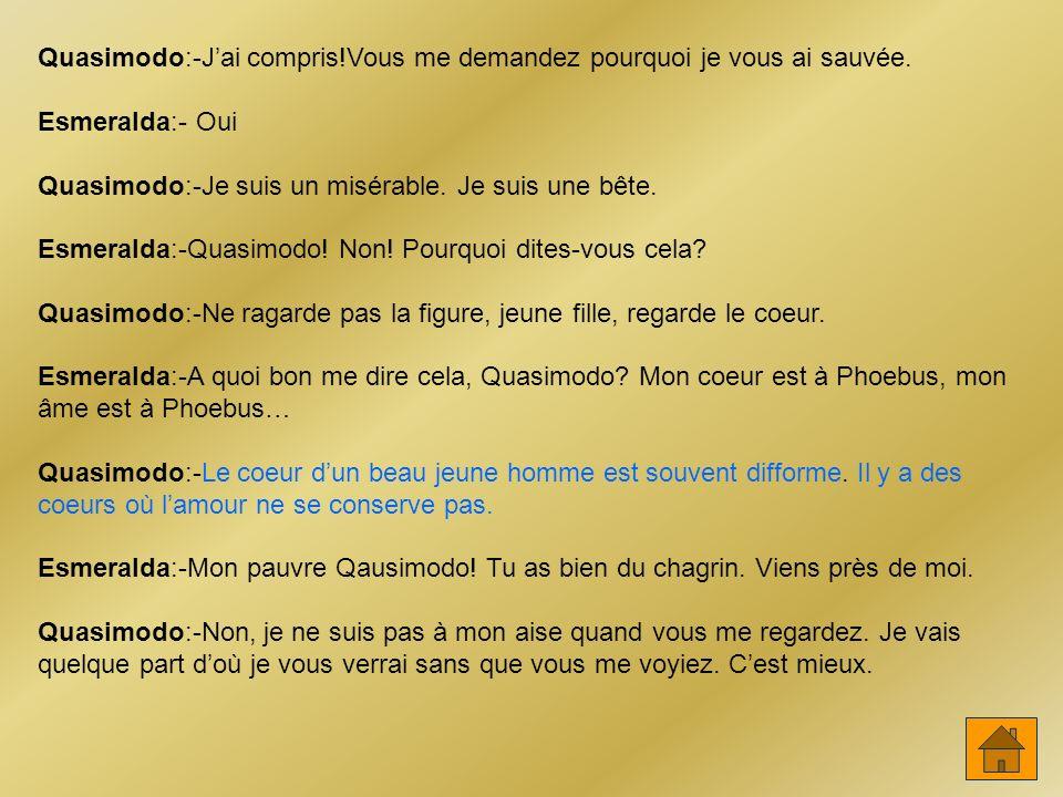 Quasimodo:-J'ai compris!Vous me demandez pourquoi je vous ai sauvée.