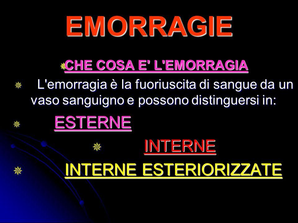 EMORRAGIE INTERNE INTERNE ESTERIORIZZATE CHE COSA E L EMORRAGIA