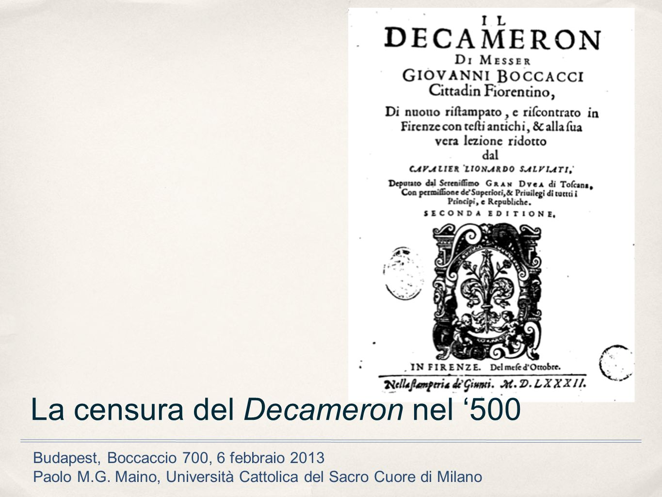 La censura del Decameron nel '500