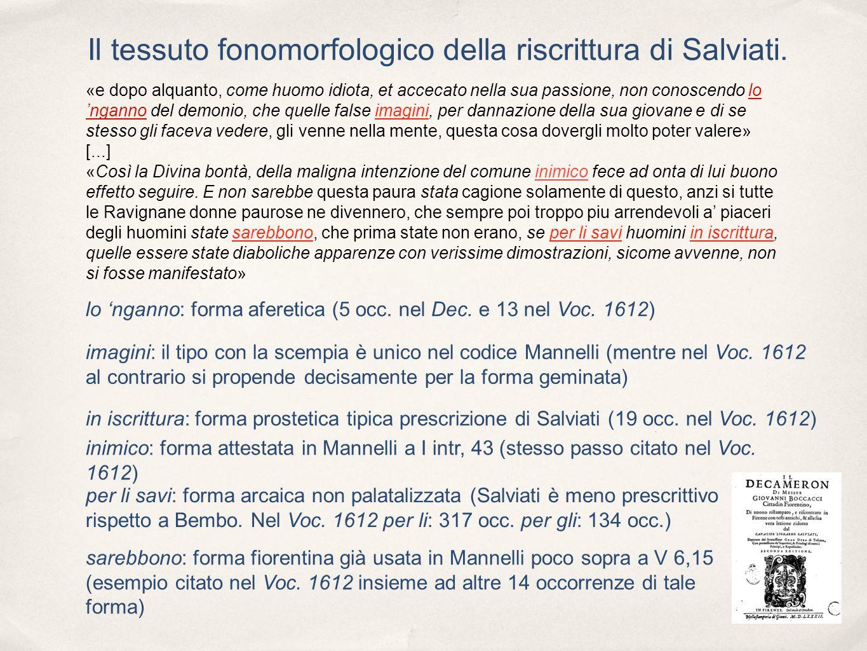 Il tessuto fonomorfologico della riscrittura di Salviati.
