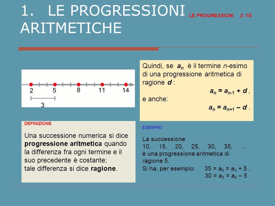 1. LE PROGRESSIONI ARITMETICHE