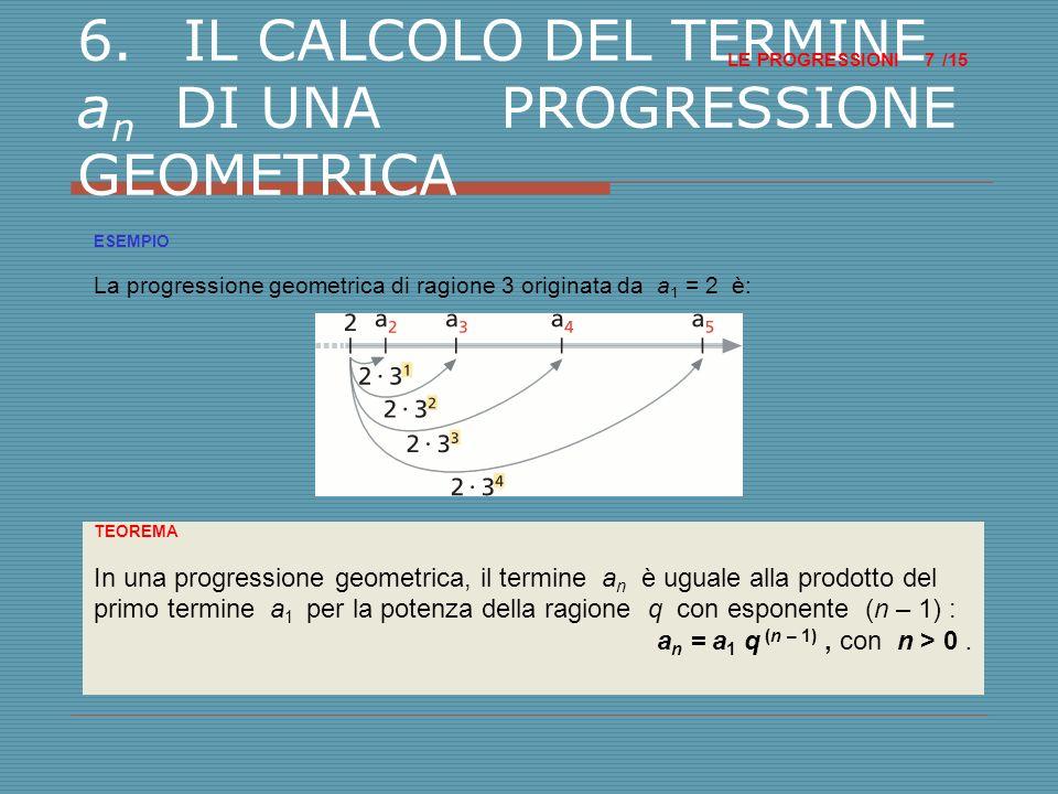 6. IL CALCOLO DEL TERMINE an DI UNA PROGRESSIONE GEOMETRICA