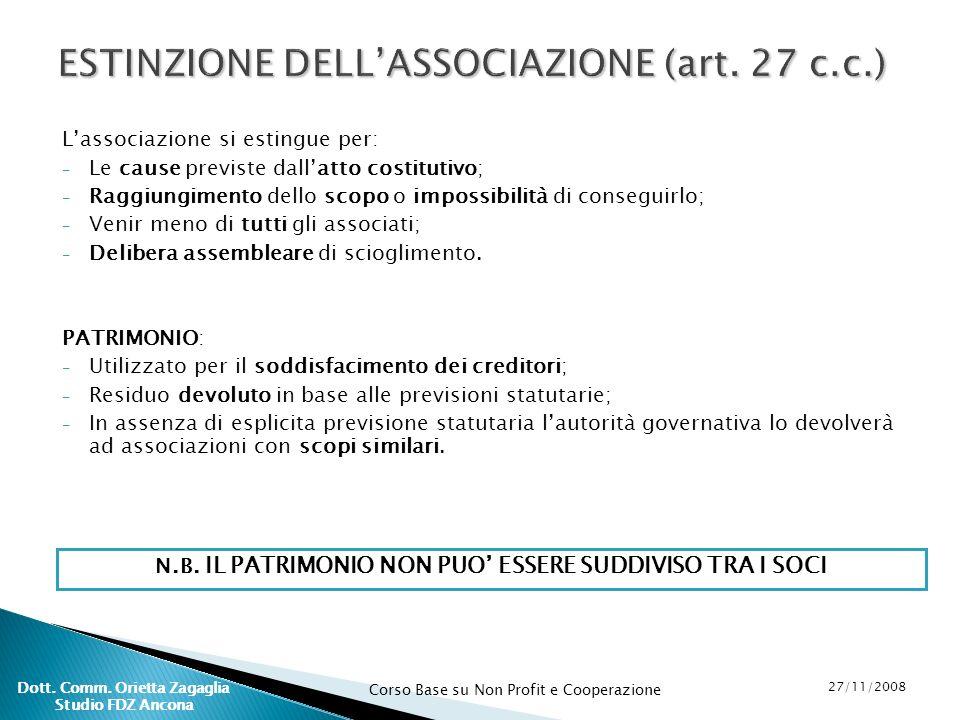 ESTINZIONE DELL'ASSOCIAZIONE (art. 27 c.c.)