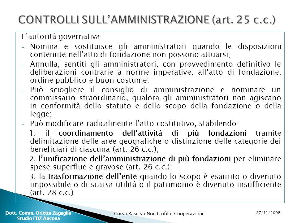 CONTROLLI SULL'AMMINISTRAZIONE (art. 25 c.c.)