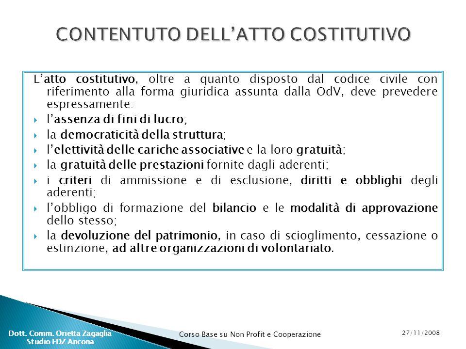 CONTENTUTO DELL'ATTO COSTITUTIVO