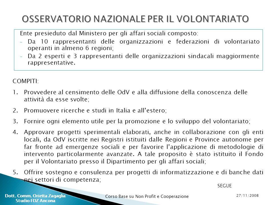 OSSERVATORIO NAZIONALE PER IL VOLONTARIATO