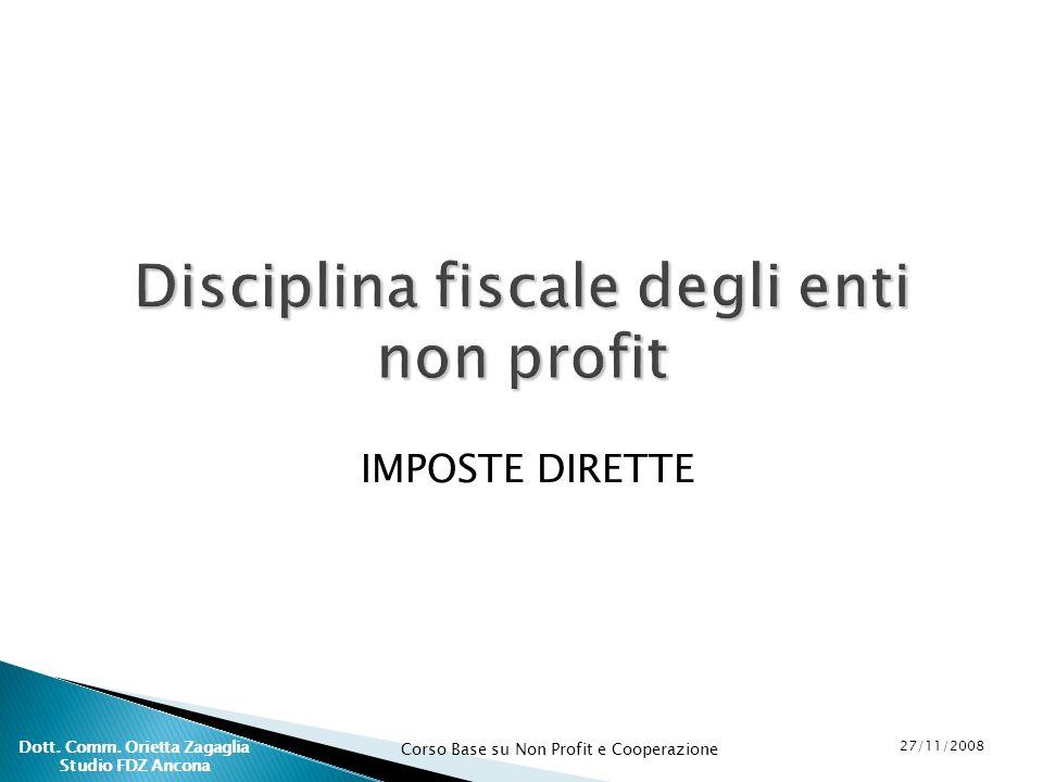 Disciplina fiscale degli enti non profit