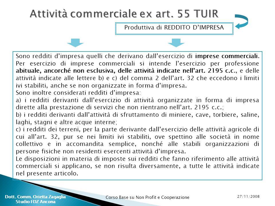 Attività commerciale ex art. 55 TUIR