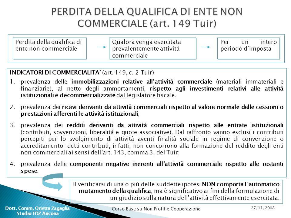 PERDITA DELLA QUALIFICA DI ENTE NON COMMERCIALE (art. 149 Tuir)