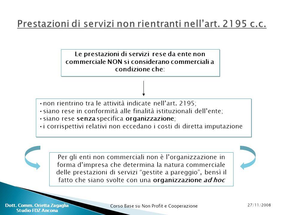 Prestazioni di servizi non rientranti nell'art. 2195 c.c.
