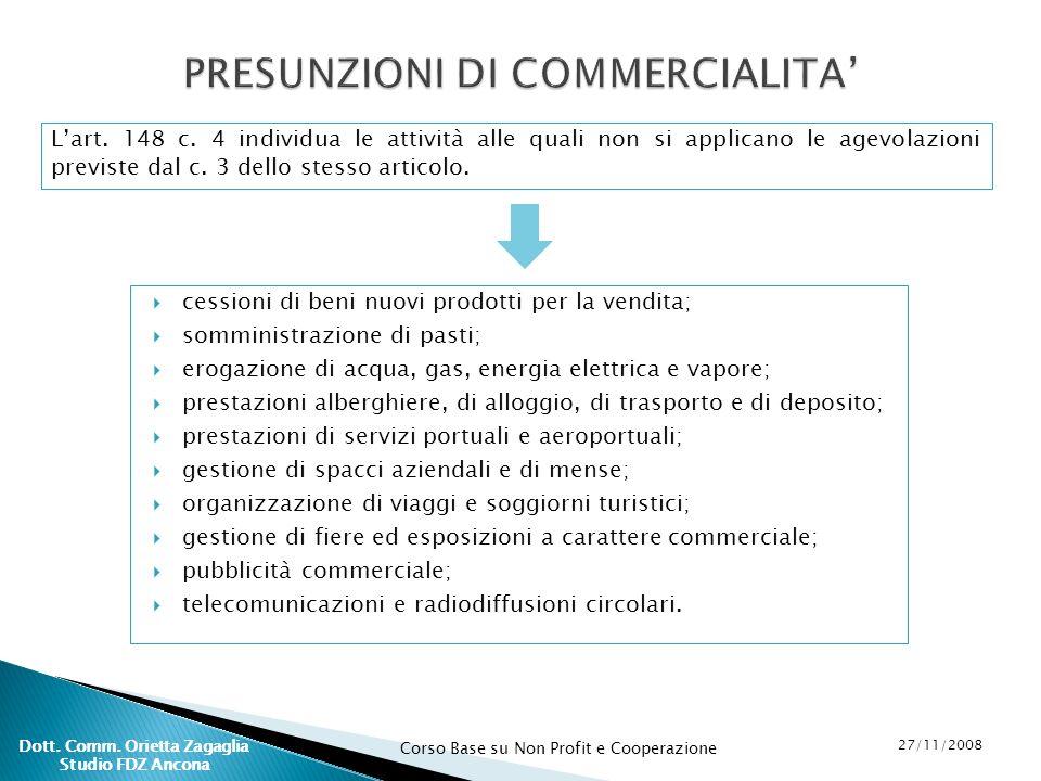 PRESUNZIONI DI COMMERCIALITA'