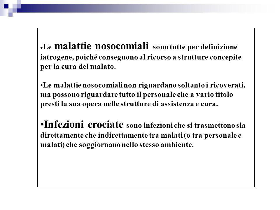 Le malattie nosocomiali sono tutte per definizione iatrogene, poiché conseguono al ricorso a strutture concepite per la cura del malato.
