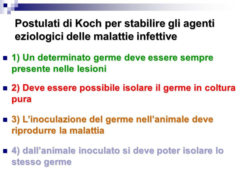 Postulati di Koch per stabilire gli agenti eziologici delle malattie infettive