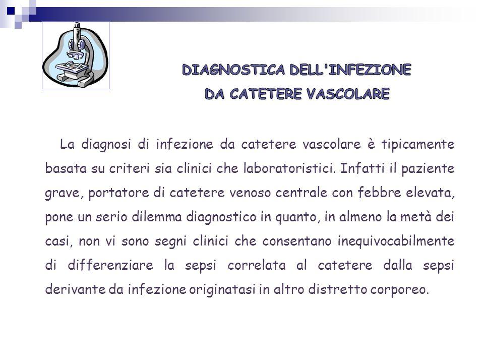 DIAGNOSTICA DELL INFEZIONE DA CATETERE VASCOLARE