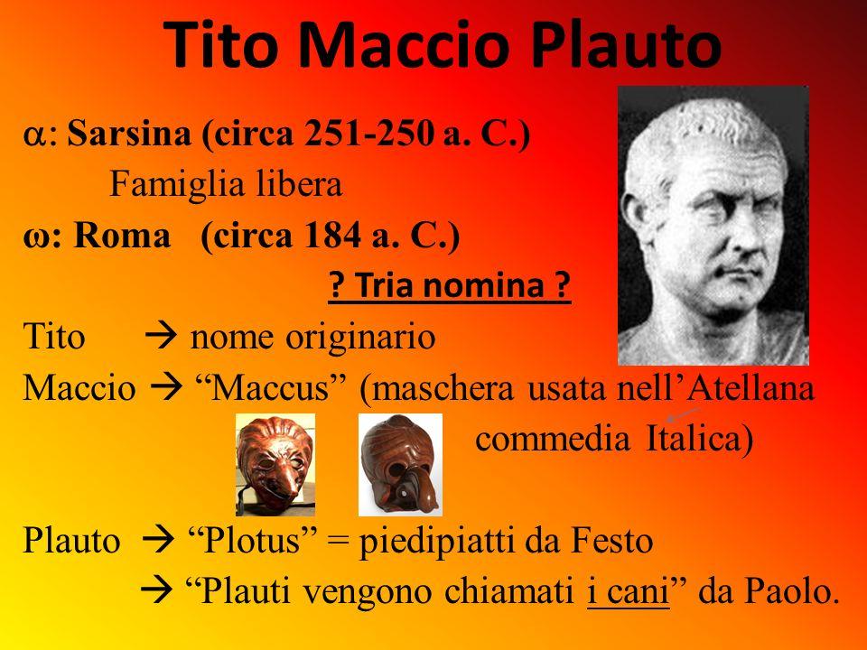 Tito Maccio Plauto a: Sarsina (circa 251-250 a. C.) Famiglia libera