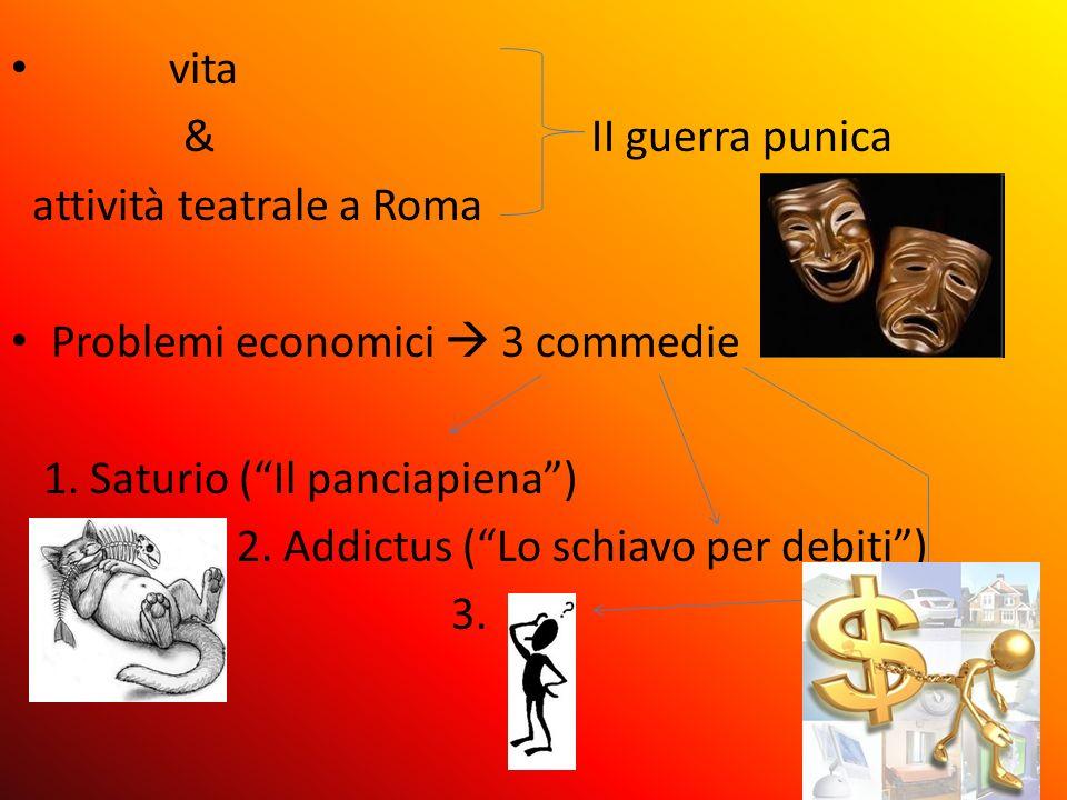 vita& II guerra punica. attività teatrale a Roma. Problemi economici  3 commedie.