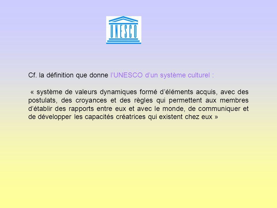 Cf. la définition que donne l'UNESCO d'un système culturel :