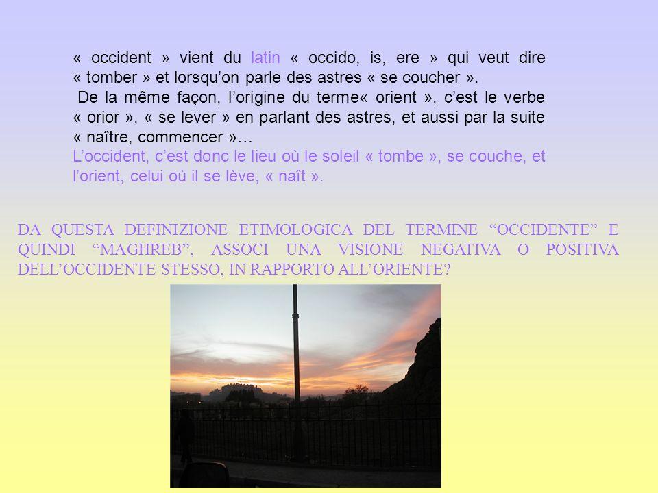 « occident » vient du latin « occido, is, ere » qui veut dire « tomber » et lorsqu'on parle des astres « se coucher ».