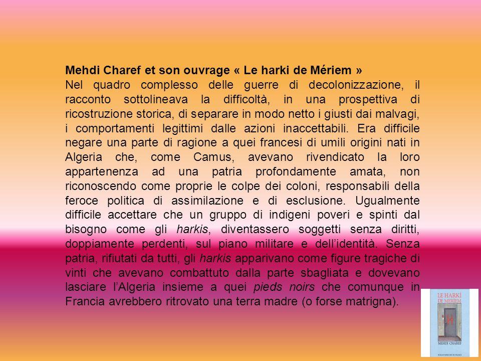 Mehdi Charef et son ouvrage « Le harki de Mériem »