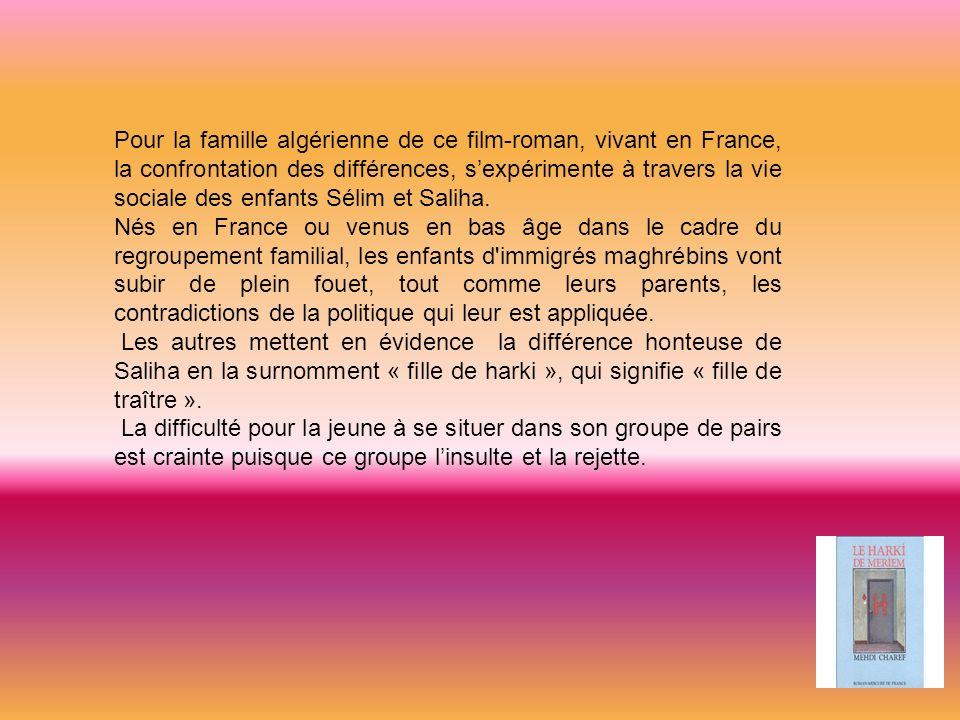 Pour la famille algérienne de ce film-roman, vivant en France, la confrontation des différences, s'expérimente à travers la vie sociale des enfants Sélim et Saliha.