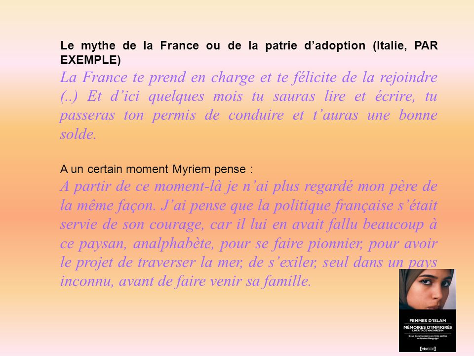 Le mythe de la France ou de la patrie d'adoption (Italie, PAR EXEMPLE)