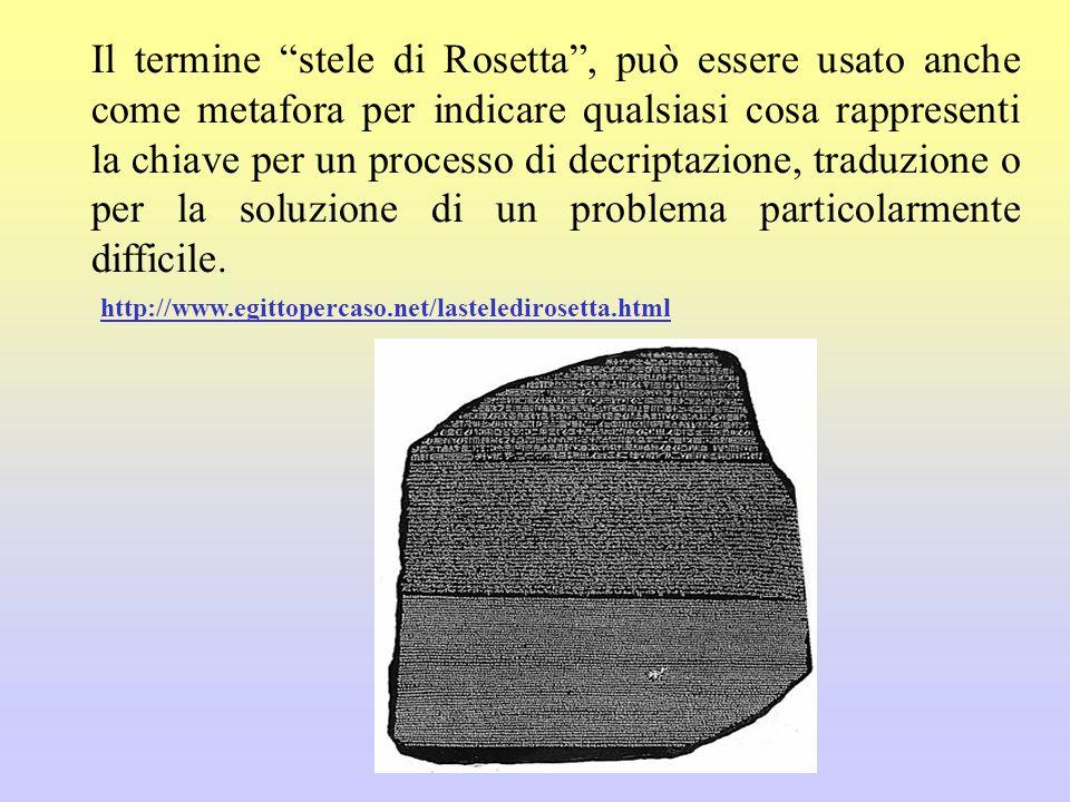 Il termine stele di Rosetta , può essere usato anche come metafora per indicare qualsiasi cosa rappresenti la chiave per un processo di decriptazione, traduzione o per la soluzione di un problema particolarmente difficile.