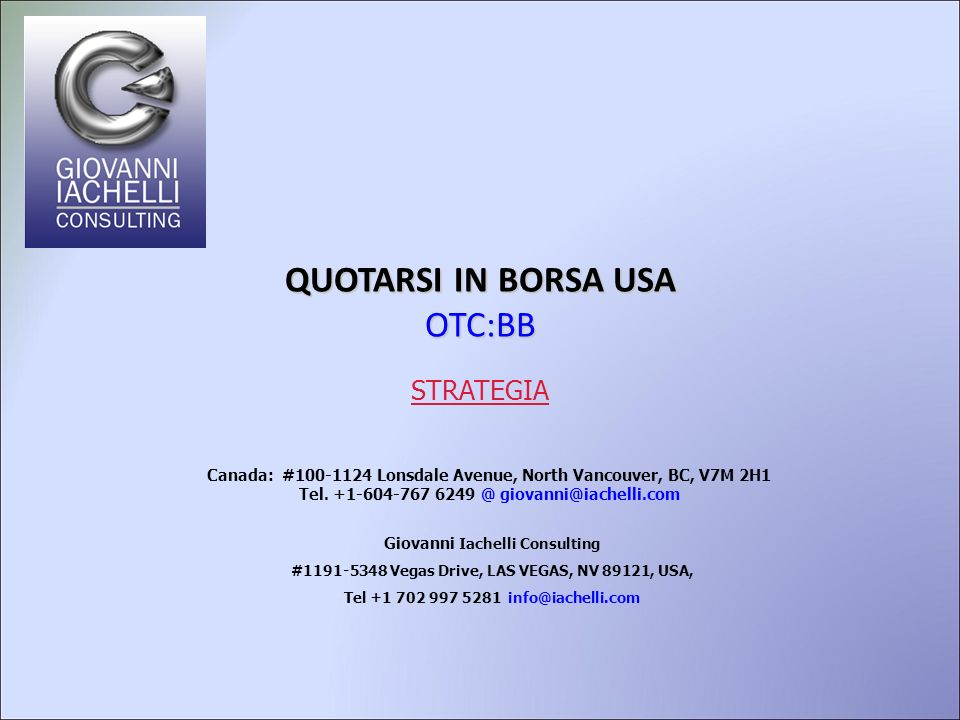 QUOTARSI IN BORSA USA OTC:BB