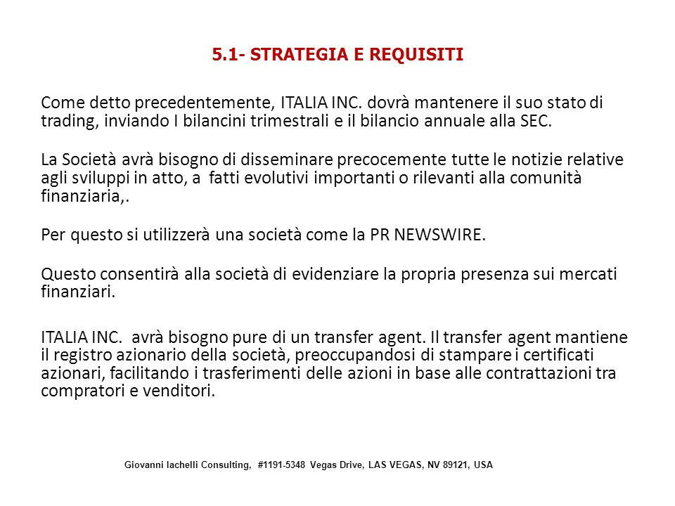 5.1- STRATEGIA E REQUISITI