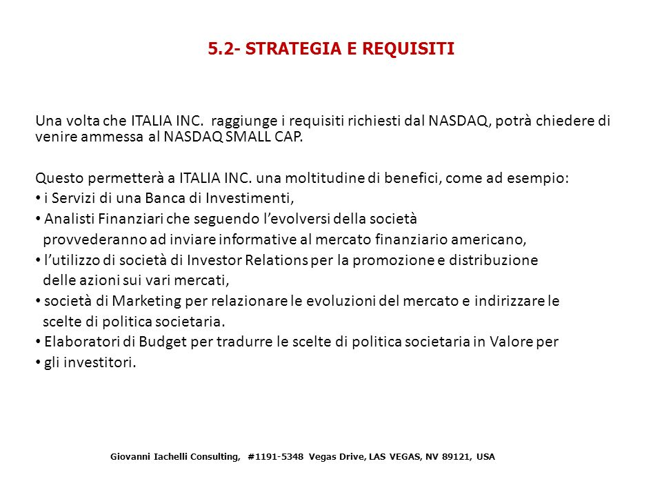 5.2- STRATEGIA E REQUISITI