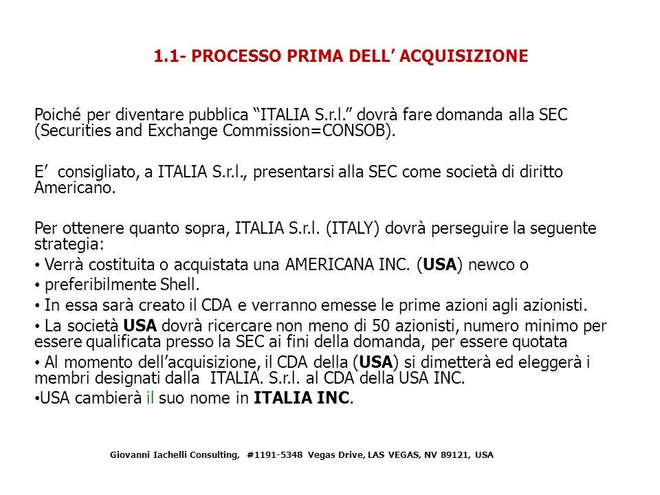 1.1- PROCESSO PRIMA DELL' ACQUISIZIONE