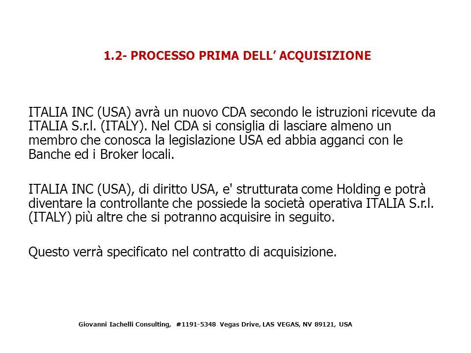 1.2- PROCESSO PRIMA DELL' ACQUISIZIONE