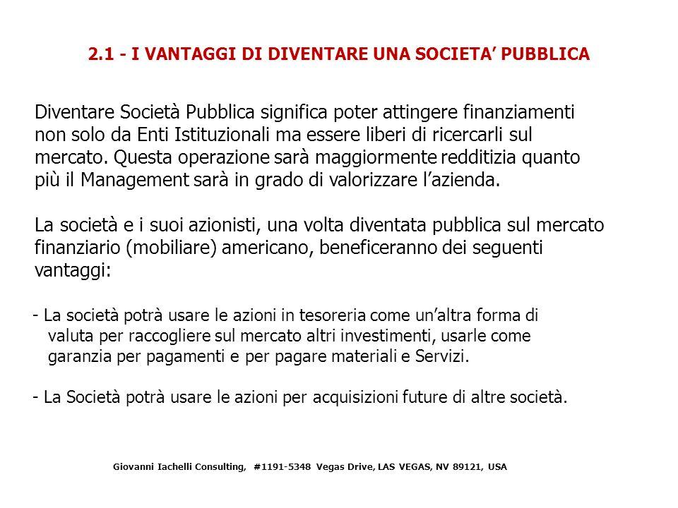 2.1 - I VANTAGGI DI DIVENTARE UNA SOCIETA' PUBBLICA