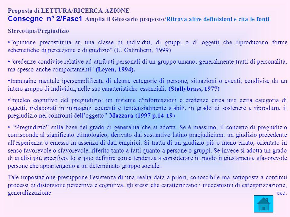 Proposta di LETTURA/RICERCA AZIONE