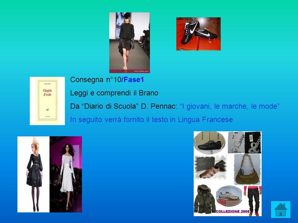 Consegna n°10/Fase1 Leggi e comprendi il Brano. Da Diario di Scuola D. Pennac: I giovani, le marche, le mode