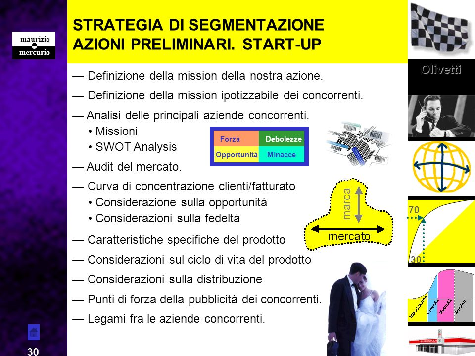 STRATEGIA DI SEGMENTAZIONE AZIONI PRELIMINARI. START-UP