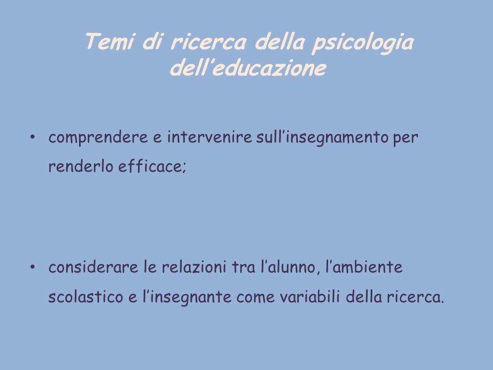 Temi di ricerca della psicologia dell'educazione