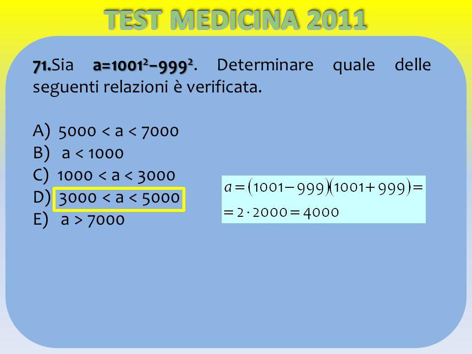 TEST MEDICINA 2011 71.Sia a=10012−9992. Determinare quale delle seguenti relazioni è verificata. A) 5000 < a < 7000.