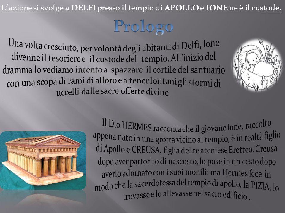 L'azione si svolge a DELFI presso il tempio di APOLLO e IONE ne è il custode.