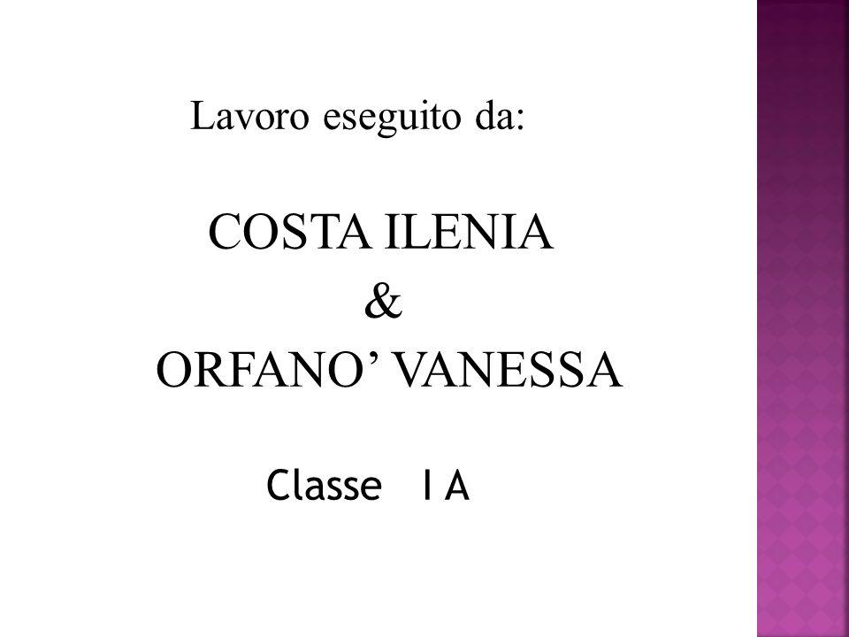 Lavoro eseguito da: COSTA ILENIA & ORFANO' VANESSA Classe I A