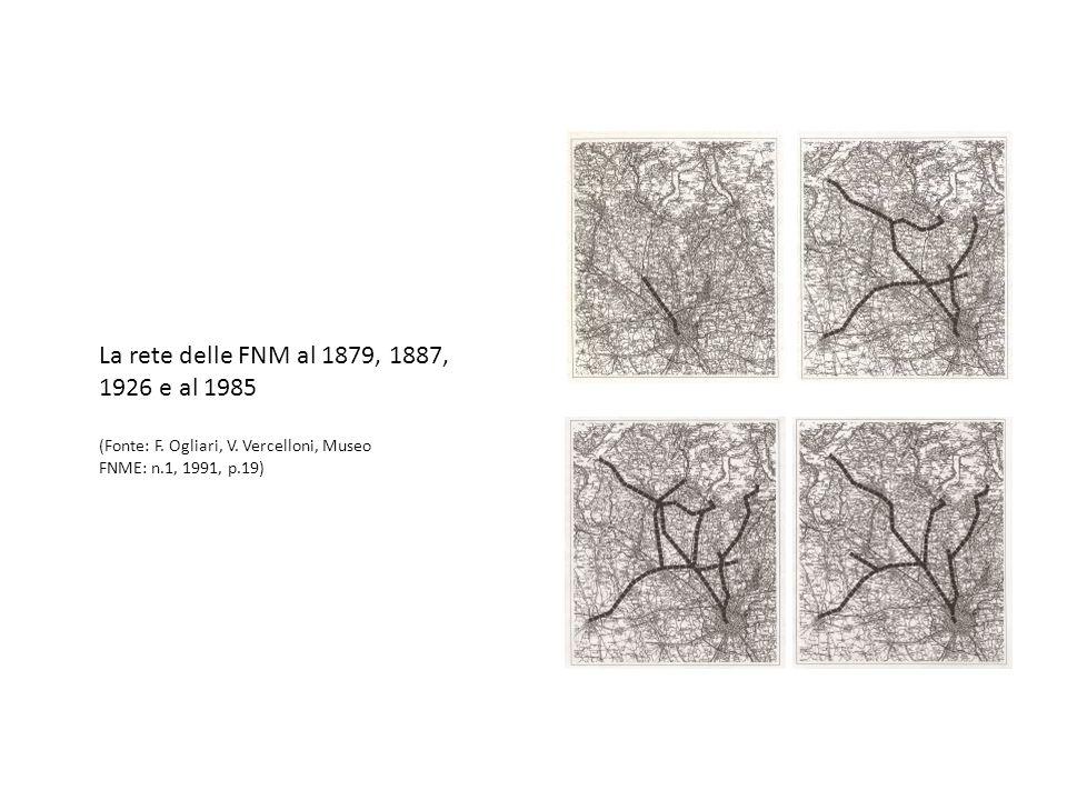 La rete delle FNM al 1879, 1887, 1926 e al 1985 (Fonte: F.