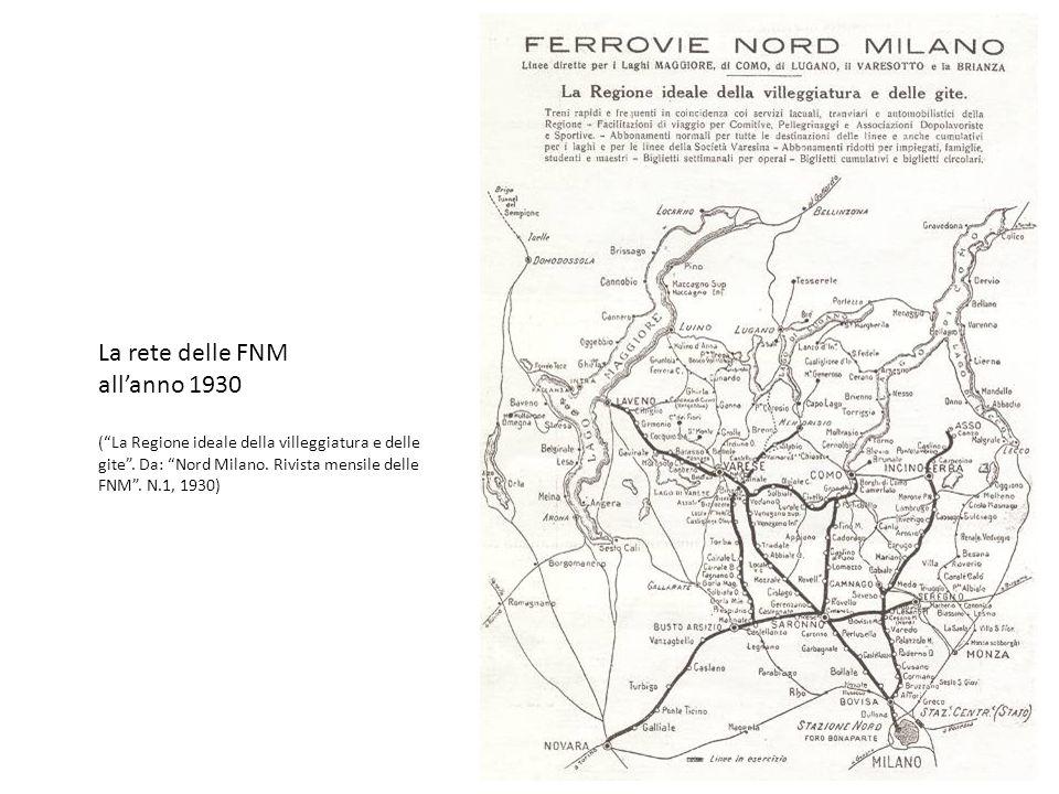 La rete delle FNM all'anno 1930