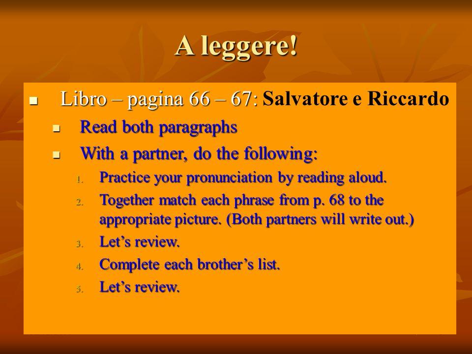 A leggere! Libro – pagina 66 – 67: Salvatore e Riccardo