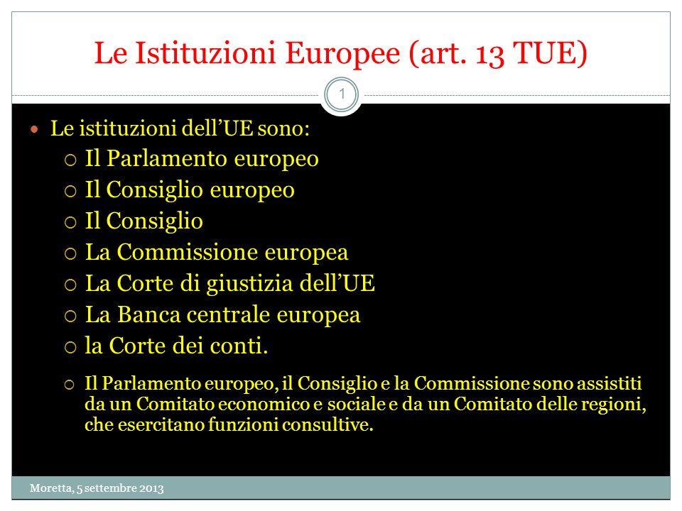 Le Istituzioni Europee (art. 13 TUE)
